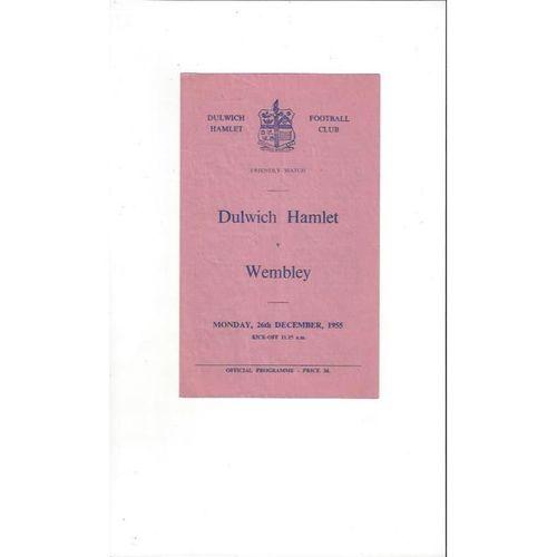 Dulwich Hamlet v Wembley Friendly Football Programme 1955/56