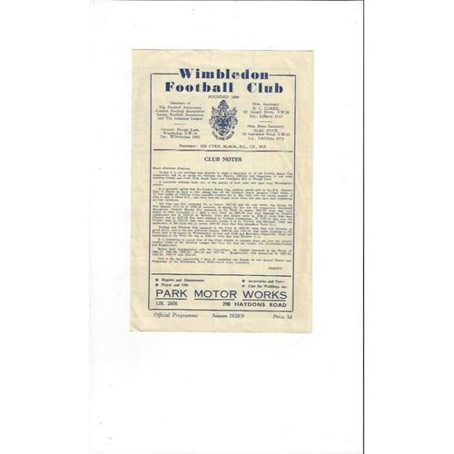 1958/59 Dulwich Hamlet v Tooting & Mitcham London Senior Cup Semi Final Football Programme @ Wimbledon