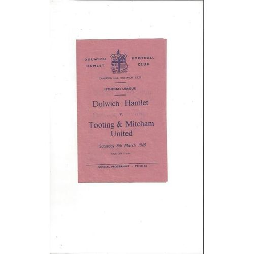 1968/69 Dulwich Hamlet v Tooting & Mitcham Football Programme