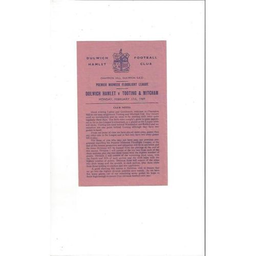 1968/69 Dulwich Hamlet v Tooting & Mitcham Midweek League Football Programme