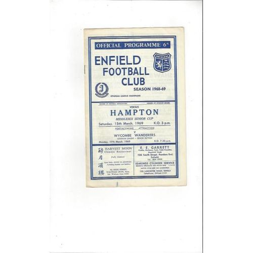 1968/69 Enfield v Hampton Middlesex Senior Cup Football Programme