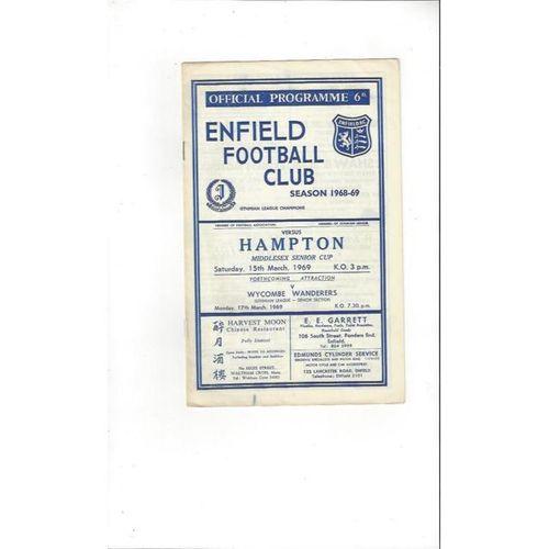 1968/69 Enfield v Hampton Middlesex Senior Cup Football Programme