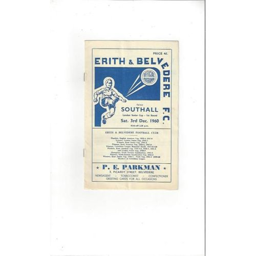 1960/61 Erith & Belvedere v Southall London Senior Cup Football Programme