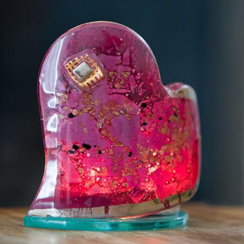 Purple & Platinum Heart Shaped Tealight Holder