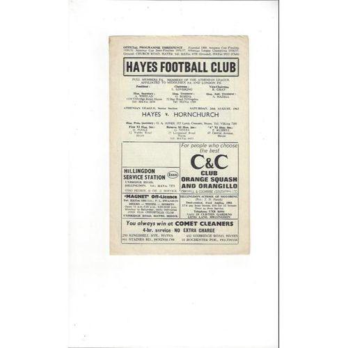 1963/64 Hayes v Hornchurch Football Programme