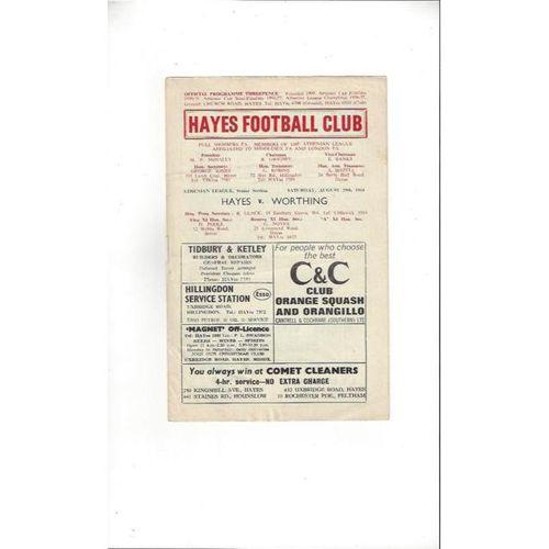 1964/65 Hayes v Worthing Football Programme