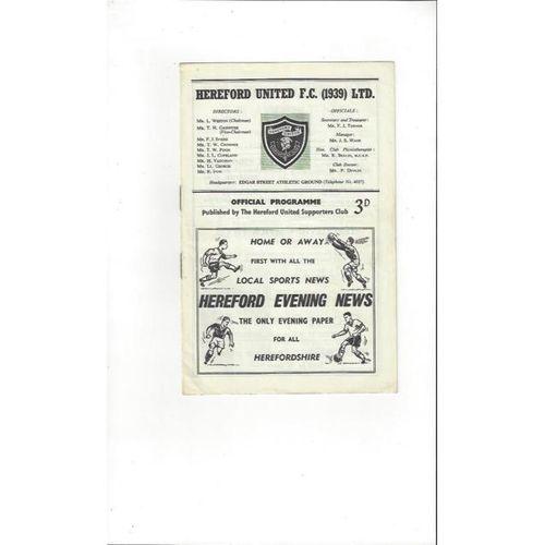 1961/62 Hereford United v Gravesend Football Programme