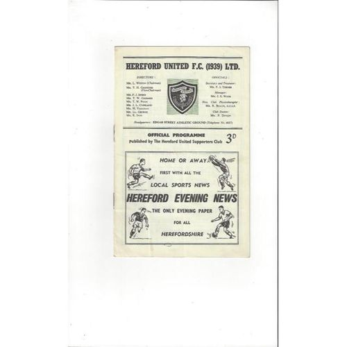 1961/62 Hereford United v Rugby Town Football Programme