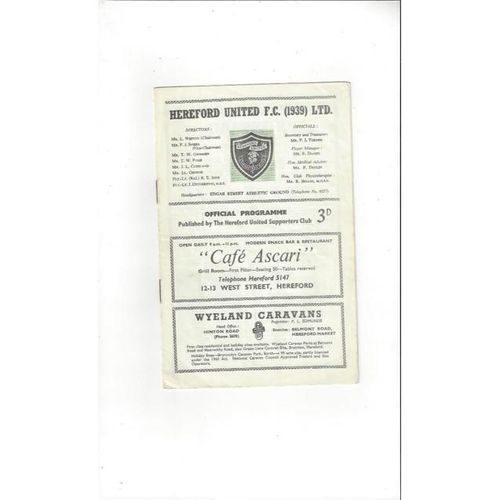 1962/63 Hereford United v Dartford Football Programme
