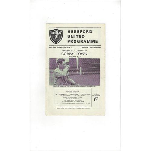 1964/65 Hereford United v Corby Town Football Programme