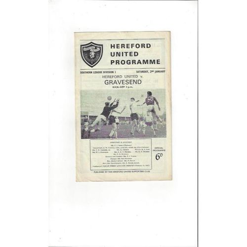 1964/65 Hereford United v Gravesend Football Programme
