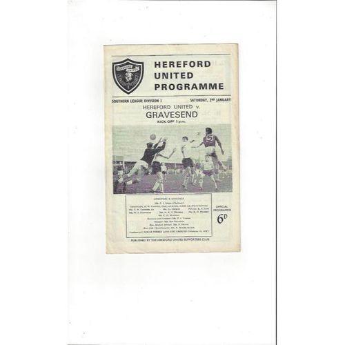 1964/65 Hereford United v Gravesend Football Programme