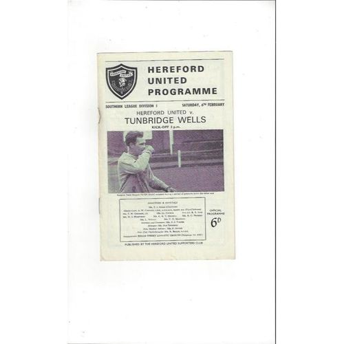 1964/65 Hereford United v Tunbridge Wells Football Programme