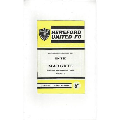 1968/69 Hereford United v Margate Football Programme