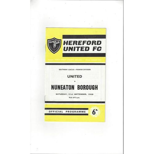 1968/69 Hereford United v Nuneaton Borough Football Programme