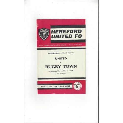 1968/69 Hereford United v Rugby Town Football Programme