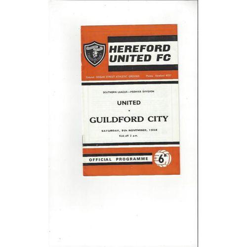 1968/69 Hereford United v Guildford City Football Programme