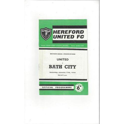 1969/70 Hereford United v Bath City Football Programme