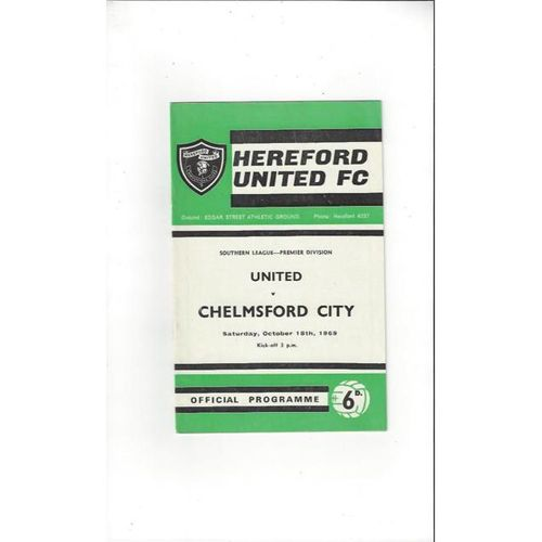 1969/70 Hereford United v Chelmsford City Football Programme