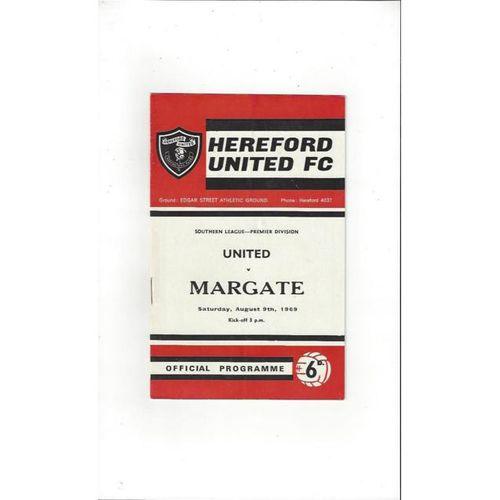 1969/70 Hereford United v Margate Football Programme