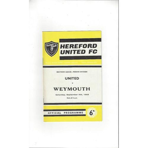 1969/70 Hereford United v Weymouth Football Programme