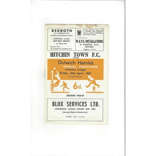 1968/69 Hitchin Town v Dulwich Hamlet Football Programme