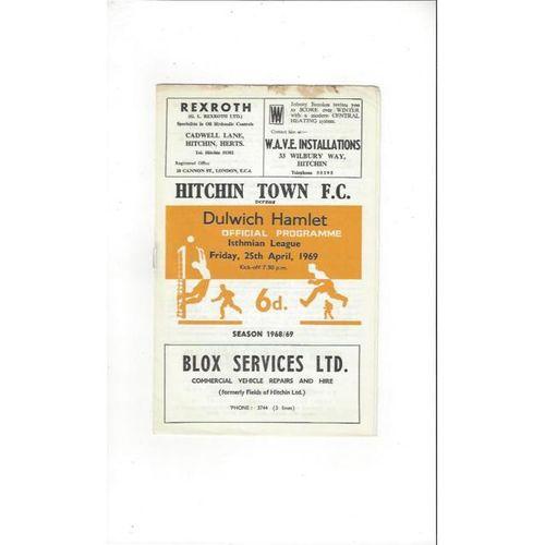 1968/69 Hitchin Town v Dulwich Hamlet Football Programme