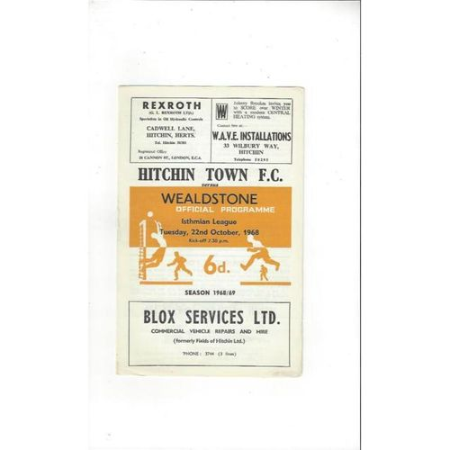 1968/69 Hitchin Town v Wealdstone Football Programme