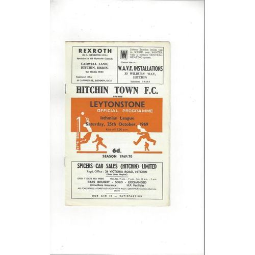 1969/70 Hitchin Town v Leytonstone Football Programme