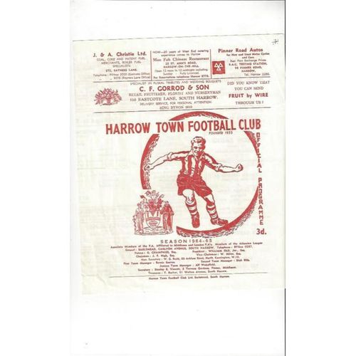 1964/65 Harrow Borough v ROFSA London Senior Cup Football Programme