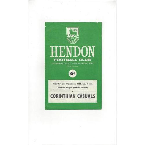1963/64 Hendon v Corinthian Casuals Football Programme