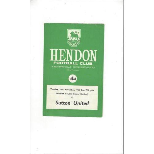 1968/69 Hendon v Sutton United Football Programme