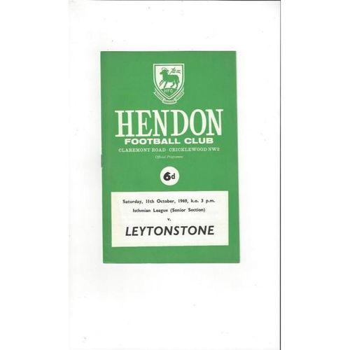 1969/70 Hendon v Leytonstone Football Programme