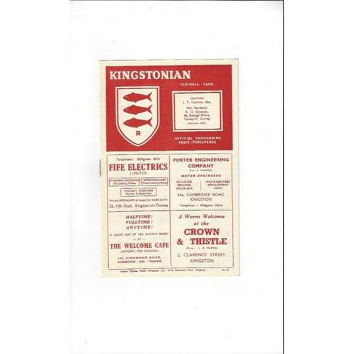 1953/54 Kingstonian v Dulwich Hamlet Football Programme