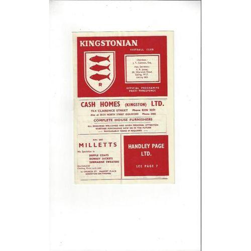 1956/57 Kingstonian v Dulwich Hamlet Football Programme