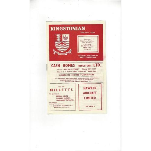 1958/59 Kingstonian v Dulwich Hamlet Football Programme