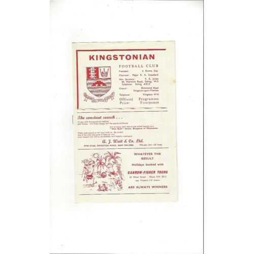 1964/65 Kingstonian v Dulwich Hamlet Football Programme