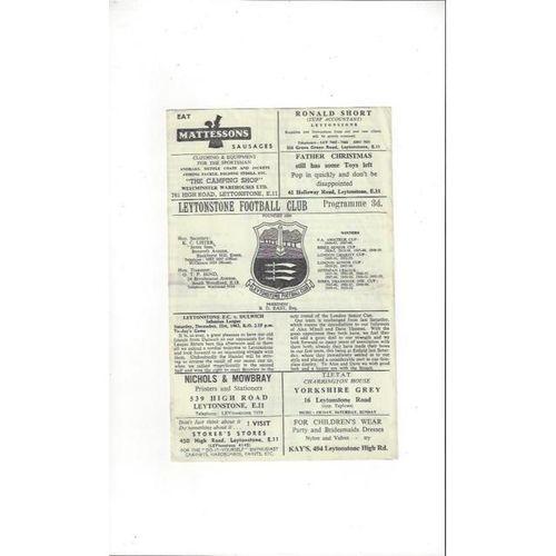 1963/64 Leytonstone v Dulwich Hamlet Football Programme