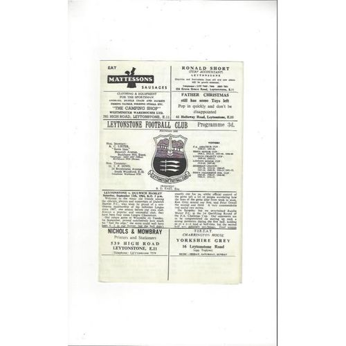 1964/65 Leytonstone v Dulwich Hamlet Football Programme