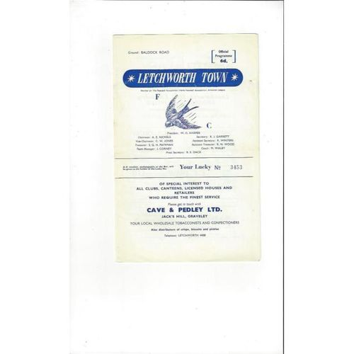 1966/67 Letchworth v Erith & Belvedere Football Programme