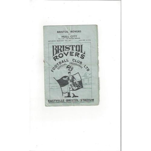1950/51 Bristol Rovers v Hull City FA Cup Football Programme