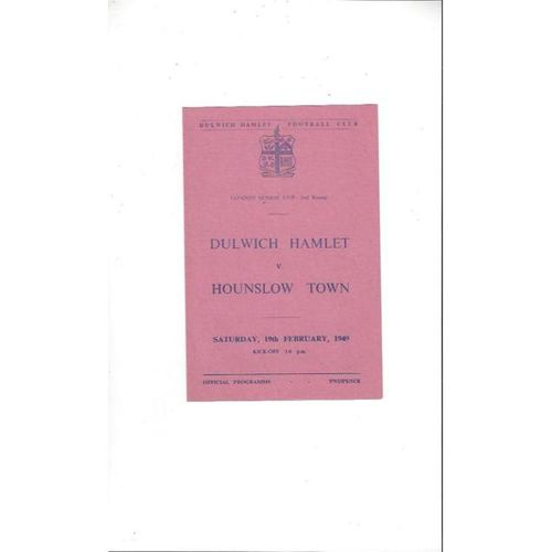 1948/49 Dulwich Hamlet v Hounslow Town Football Programme London Senior Cup