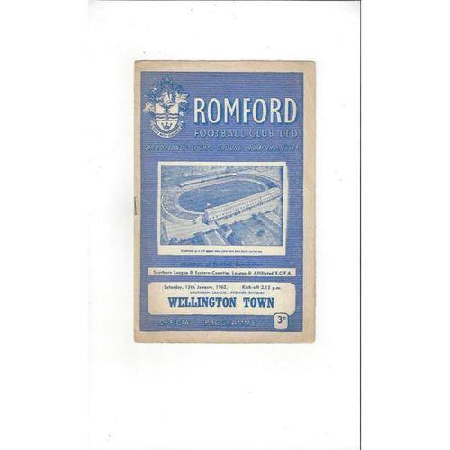 1961/62 Romford v Wellington Football Programme