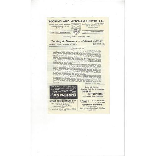 1963/64 Tooting & Mitcham United v Dulwich Hamlet Football Programme