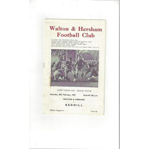 1969/70 Walton & Hersham v Redhill Surrey Senior Cup Football Programme