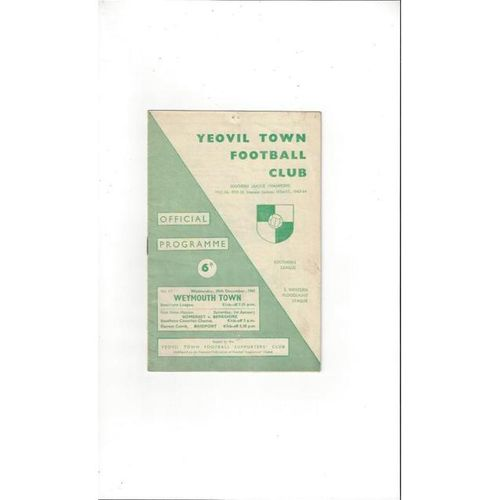 1965/66 Yeovil Town v Weymouth Football Programme
