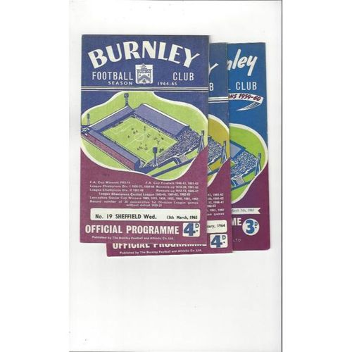 3 x Burnley Football Programmes 1960/61 to 1964/65 All Single items