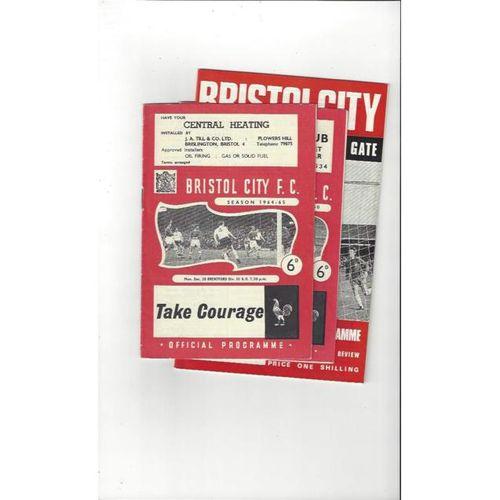 3 x Bristol City Football Programmes 1964/65 to 1969/70 All Single items
