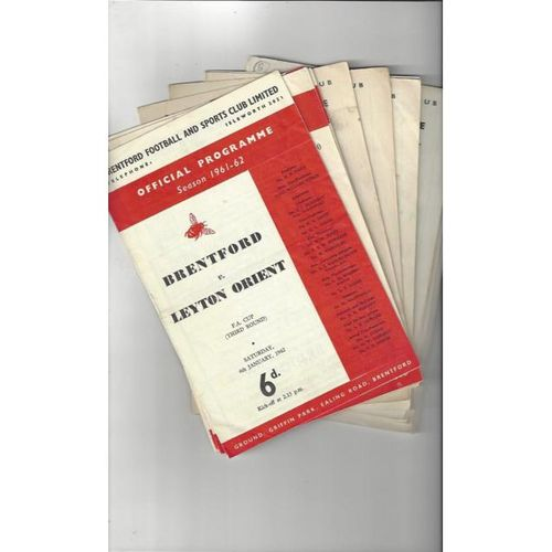 14 x Brentford Football Programmes 1961/62 to 1969/70 All Single items