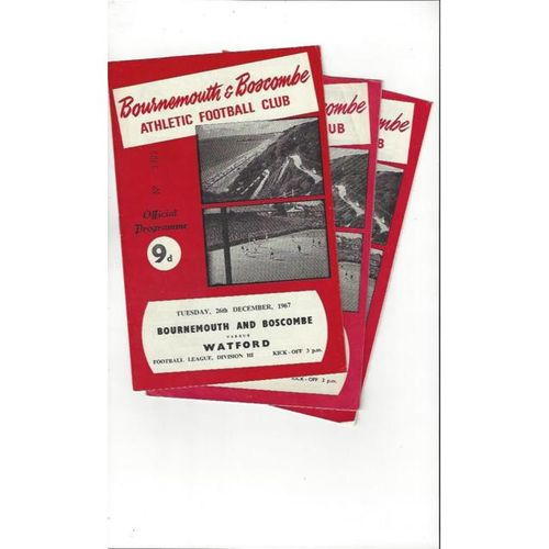 3 x Bournemouth Football Programmes 1962/63 to 1967/68 All Single items